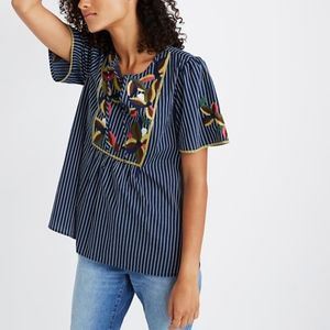 Madewell floral embroidered blouse